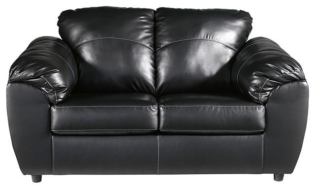 Magnificent Benchcraft Fezzman Love Seat Black Leather Home Interior And Landscaping Mentranervesignezvosmurscom