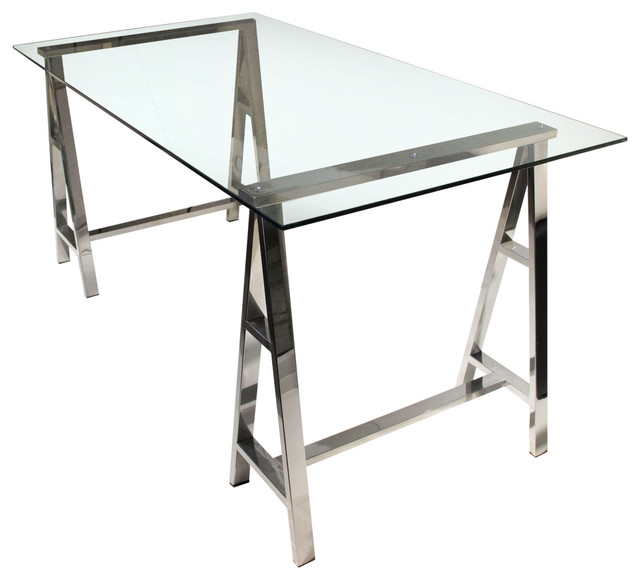 Deko Desk With Clear, Tempered Glass Top, Stainless Steel.
