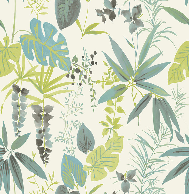 Descano Flower Green Botanical Wallpaper Contemporary Wallpaper By Brewster Home Fashions