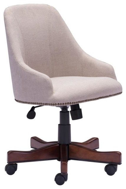 Contemporary Office Chair modern contemporary office chair, beige fabric - transitional