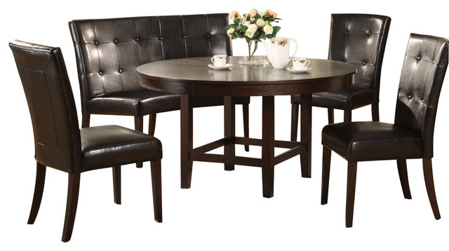 piece 54 inch dining room set in dark chocolate traditional dining