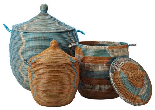 Senegalese Storage Baskets - Aqua/Orange, Set of Three traditional baskets