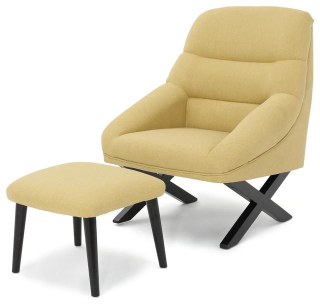 Mccartney Fabric Mid Century Chair And Ottoman Set Bright Green
