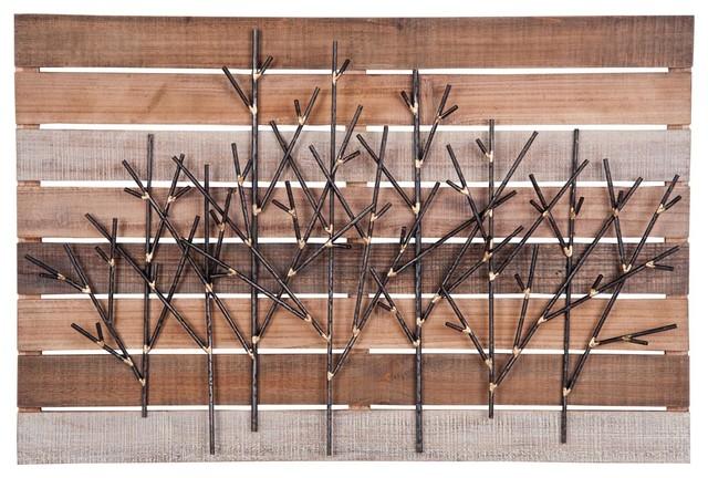 Foreside Metal Twigs On Wood Wall Art. -1