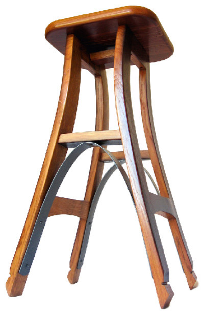 Eiffel Recycled Oak Wine Barrel High Bar Stool