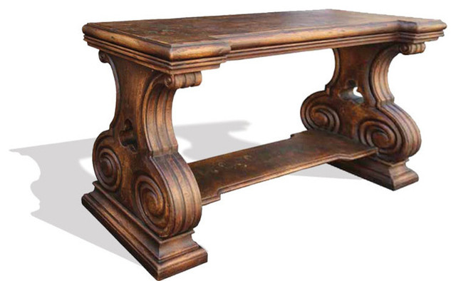 Old World Tuscan Sofa Table Romana, Distressed Fresco Brown