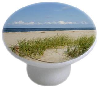 Grassy Beach Ceramic Cabinet Drawer Knob Beach Style