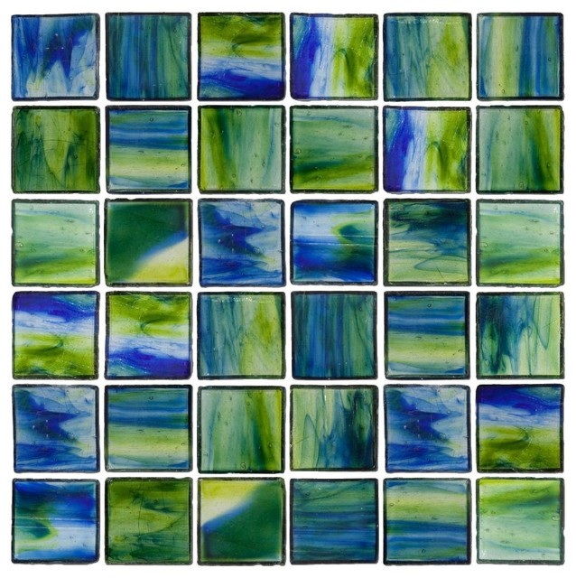 Transparent Blue and Green Mix Glass Tile Contemporary Wall