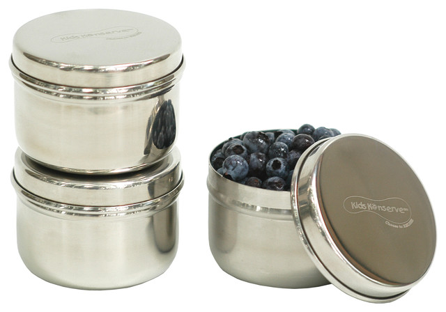 Mini Stainless Steel Food Containers, Set Of 3 Modern Kitchen Canisters And