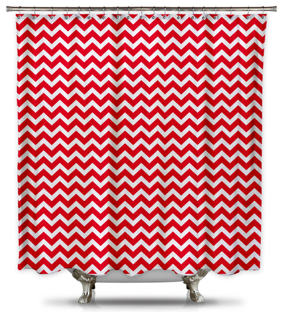 Red And White Chevron Shower Curtain Standard Size