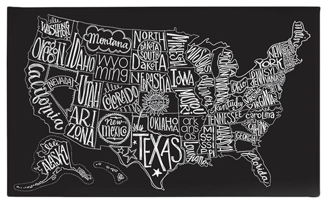 Basicgrey Black Tie Us Map Canvas Art Eclectic Artwork By Purehome