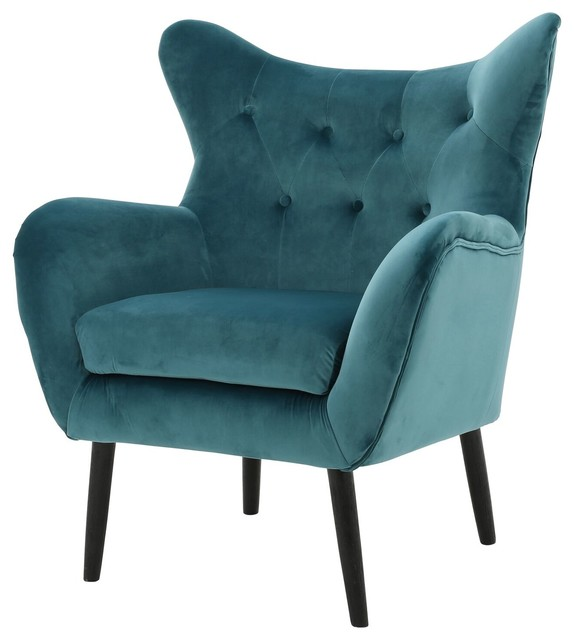 Kotop Light Gray New Velvet Wingback Arm Chair