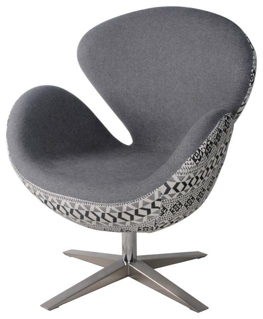 Beckett Swivel Chair Chrome Legs, Gray With Diamond Back