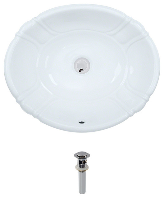 ... Porcelain Sink, White, Chrome Pop-Up Drain transitional-bathroom-sinks