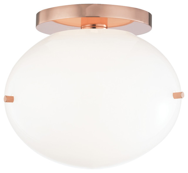 Winnie Led Flush Mount - Polished Copper Finish - Opal Glossy Glass.