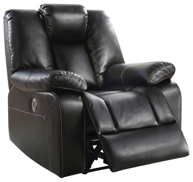 Faux Leather Upholstered Metal Power Reclining Chair With Pillow Top Arms,  Black   Contemporary   Recliner Chairs   By Benzara, Woodland Imprts, ...