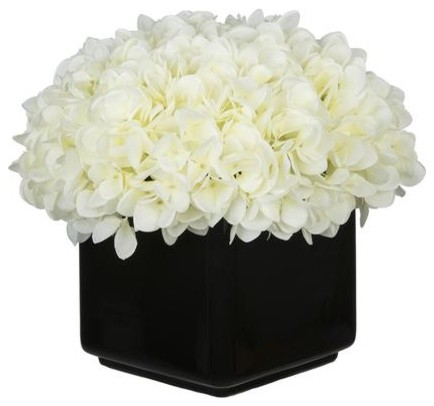 Artificial white hydrangea in large black cube ceramic artificial white hydrangea in large black cube ceramic mightylinksfo