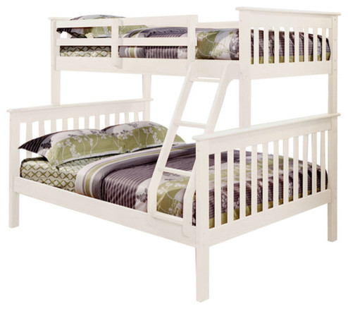 Nebula Bunk Bed With Ladder & 2 Underbed  Storage Drawers, White, Twin Over Full.