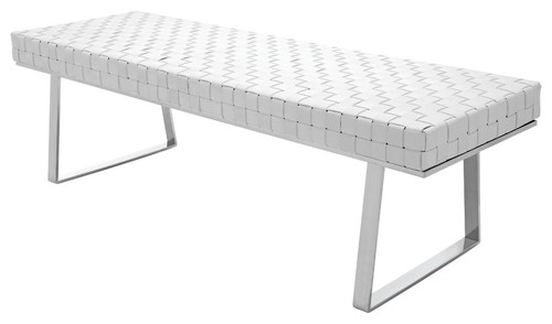 Karlee Leather Bench With Stainless Steel Frame, White