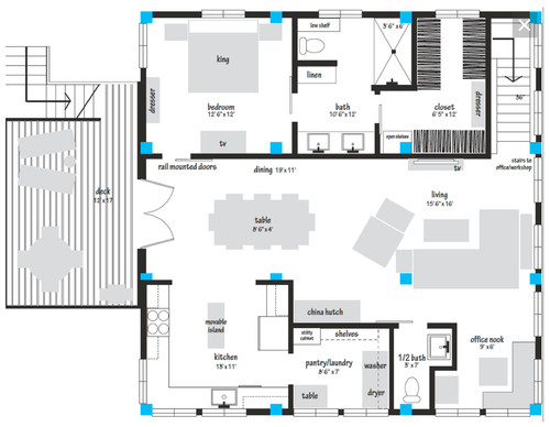 Barn Apartment Floorplan for a City Mouse!
