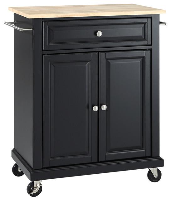 Natural Wood Top Portable Kitchen Island Cart, Black.