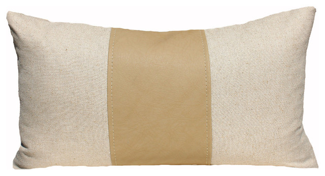 PillowFever - Linen/Felt Pillow Cover With Faux Leather Stripe, Beige - View in Your Room! Houzz