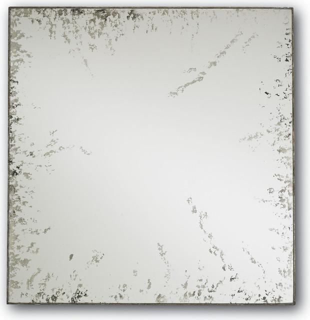 Rene Mirror, Square, Dirty Silver, Antique. Mirror