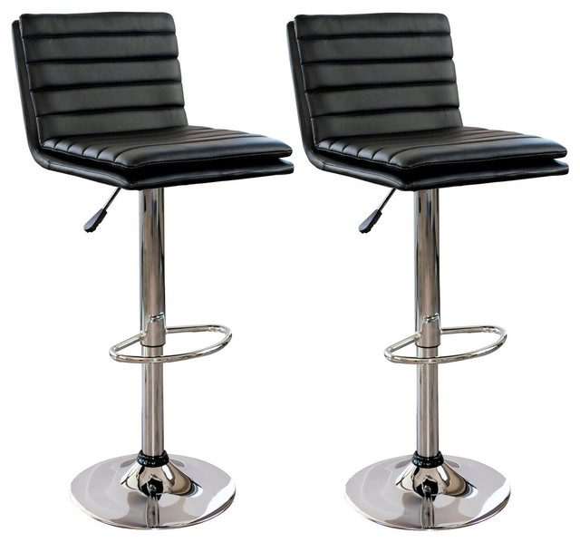 Groovy Amerihome Bs43Bset Modern Ripple Back Bar Stools Set Of 2 Black Uwap Interior Chair Design Uwaporg