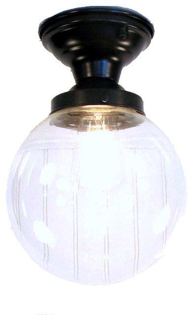 Biddeford I. Large Clear Semi Flush Ceiling Light, Antique Black.