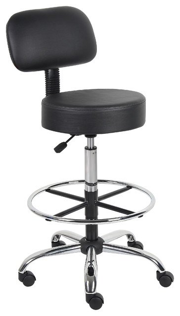 Boss Caressoft Medical/drafting Stool With Back Cushion, Black.