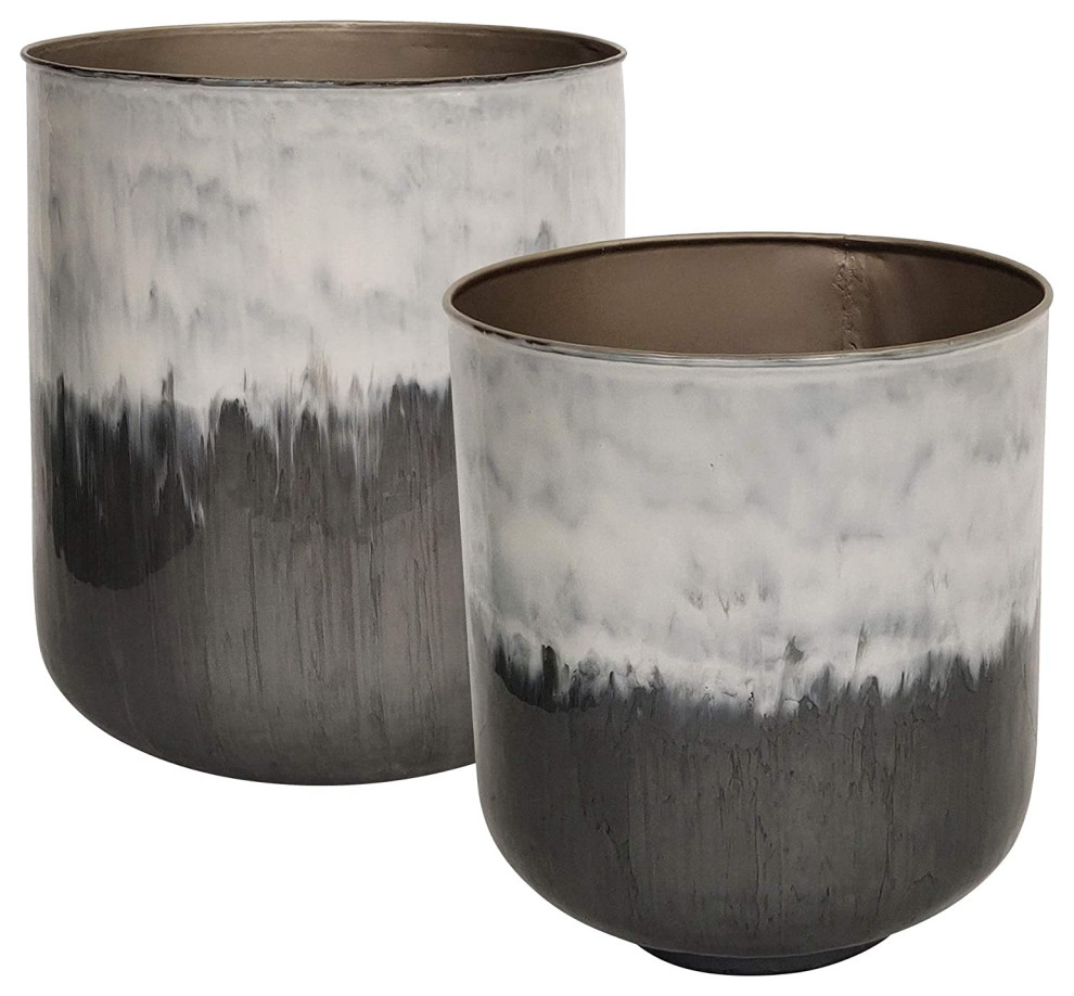 Set Of 2 Planter Two Tone Design Constructed In Metal White And Grey Contemporary Smokers By Decor Love