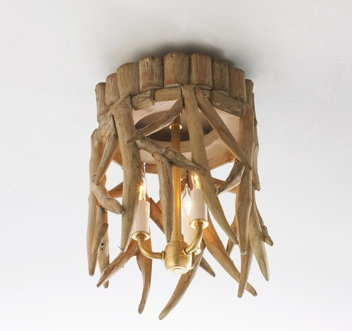 Wood Antler Ceiling Light