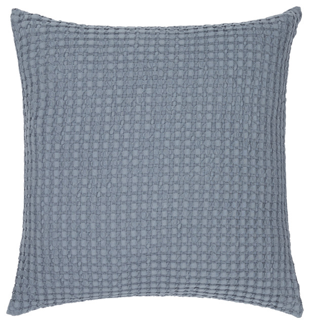 Squares Waffle Cotton Pillow Cover BlueGray Industrial Interesting Houzz Decorative Pillows