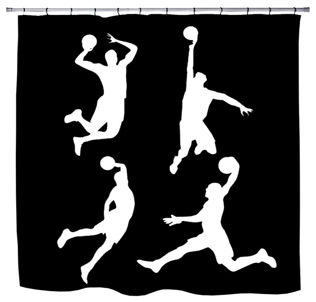 Slam Dunk Basketball Shower Curtain From Extremely Stoked