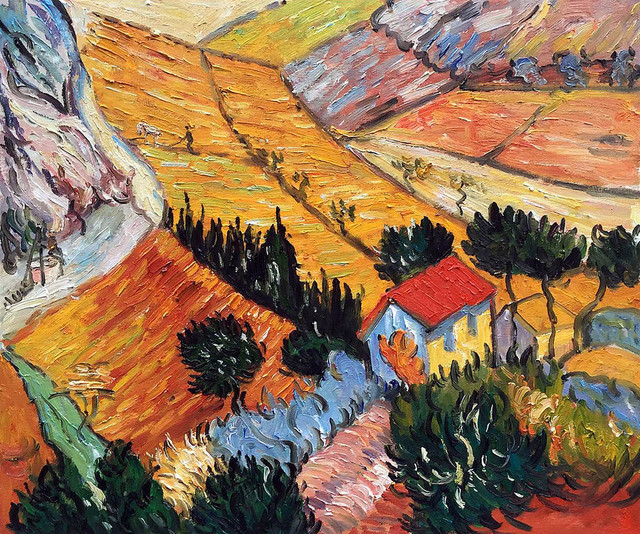 Van Gogh Landscape With House And Ploughman 1889 Oil