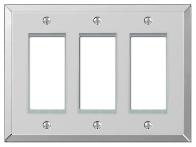 Mirror Clear Acrylic 3 Rocker Wall Plate Traditional Switch