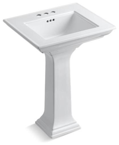 "Kohler Memoirs Stately 24"" Pedestal Bathroom Sink w/ 4"" Centerset Holes, White"