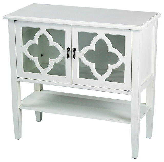 2-Door Console Cabinet With 4-Pane Glass Insert and Bottom Shelf ...