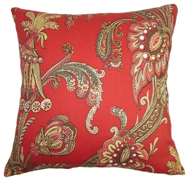 Shop Houzz The Pillow Collection Inc. Leauna Floral Pillow Red - Decorative Pillows