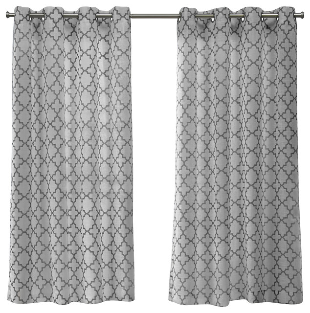 Helena Printed Grommet Top Window Curtain Panel Pair, 54x63, Dove Gray.