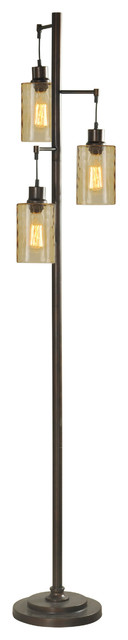 Floor Lamp, Bronze Finish, Clear Glass Shade.