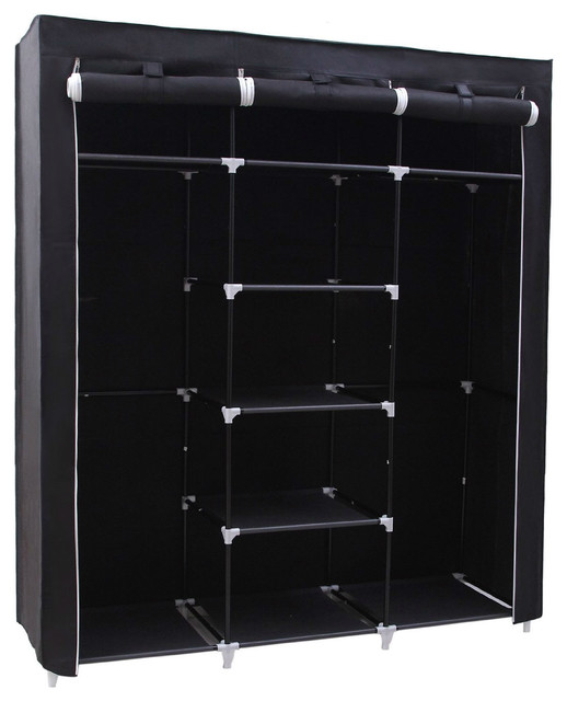 Steel Frame Fabric Portable Wardrobe Clothes Closet With Storage Shelves, Black.