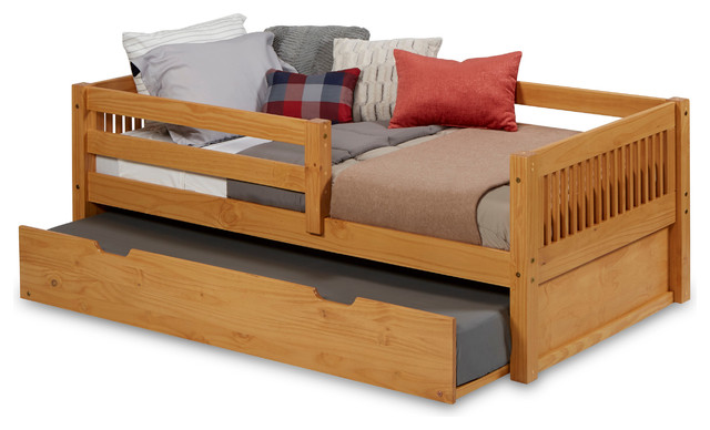 Dakota Daybed With Guardrail And Trundle, Natural, Twin.