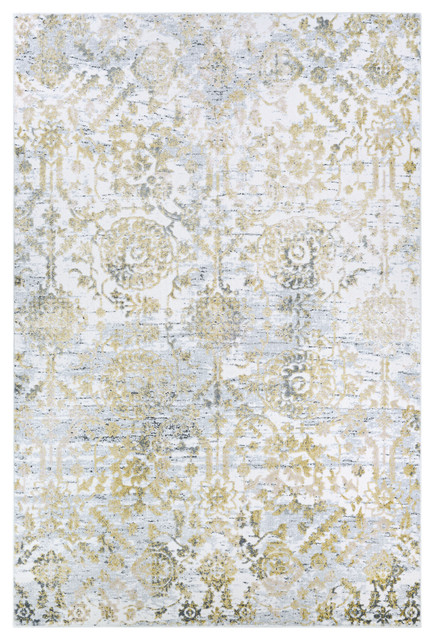 Couristan Calinda Marlowe Area Rug, Gold-Silver-Ivory, 2&x27; X 3&x27;.
