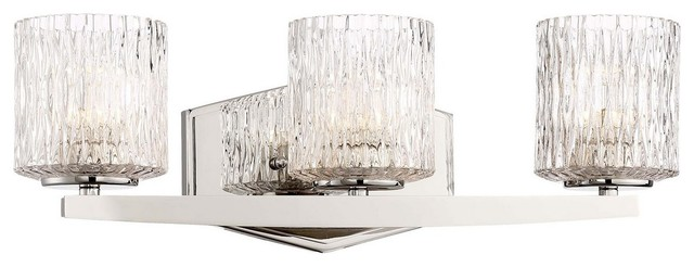 """Progress Lighting Archie 3 Light 8 75 In Polished Chrome: Maginot 19"""" 24W 3 LED Bath Vanity Polished Nickel Clear"""