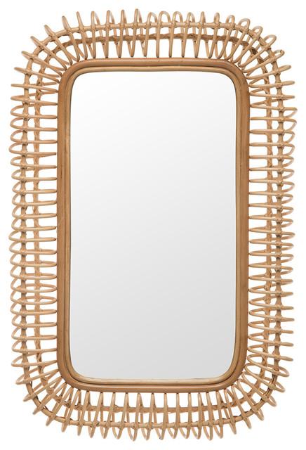 Rattan Coiled Rectangular Wall Mirror, Natural