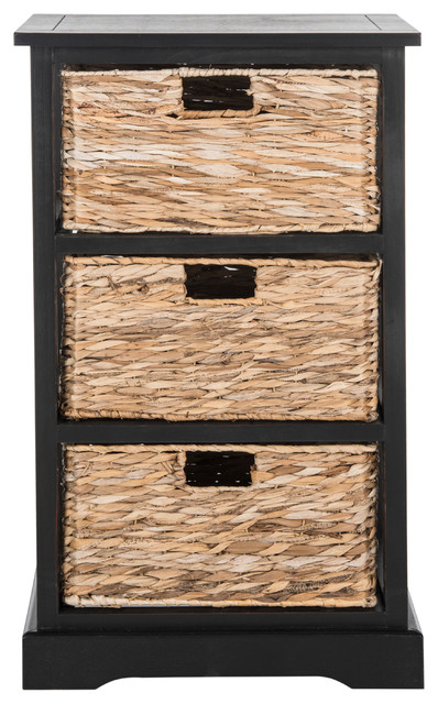 Safavieh Halle 3-Wicker Basket Storage Side Table, Distressed Black.