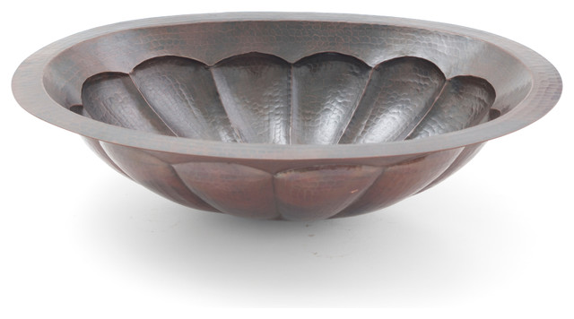 "19"" Oval Scallop Hammered Copper Bathroom Sink."