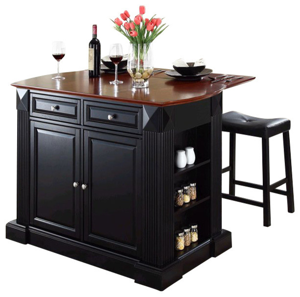 Crosley Coventry Drop Leaf Breakfast Bar Kitchen Island with Stools in Black kitchen-islands-  sc 1 st  Houzz & Crosley Coventry Drop Leaf Breakfast Bar Kitchen Island with ... islam-shia.org
