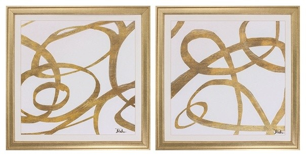 Golden Swirls Framed Artwork, Set Of 2.